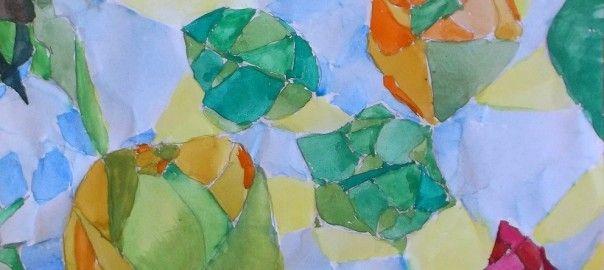 kolorování zmačkaného papíru