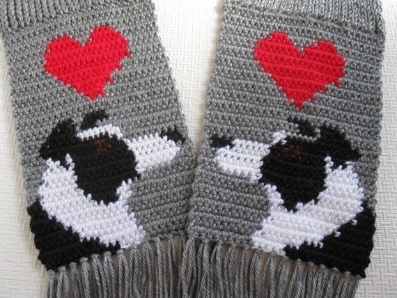 Border Collie Knitting Pattern : Border Collie Scarf. Grey knit scarf with black and white collies