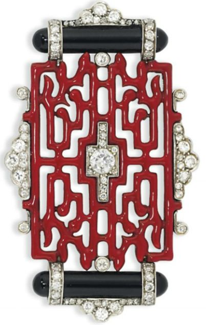 AN ART DECO ENAMEL AND DIAMOND BROOCH, BY CARTIER. Of Oriental design, composed…