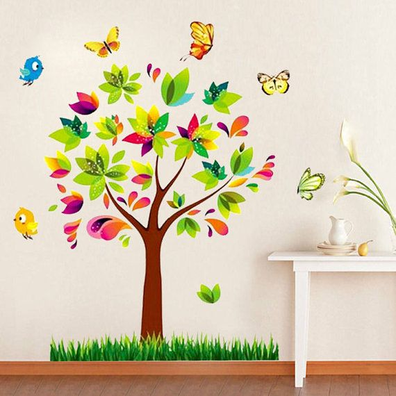 Tree Birds Decal Tree Birds Colorful Tree Colorful by lovelyhalo