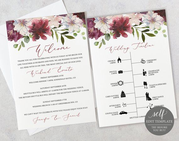 Wedding Timeline Welcome Card Template 100 Editable Etsy Welcome Card Wedding Timeline Welcome Letters