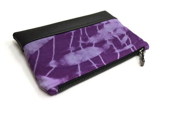 violet hand dyed clutch, shibori zippered purse