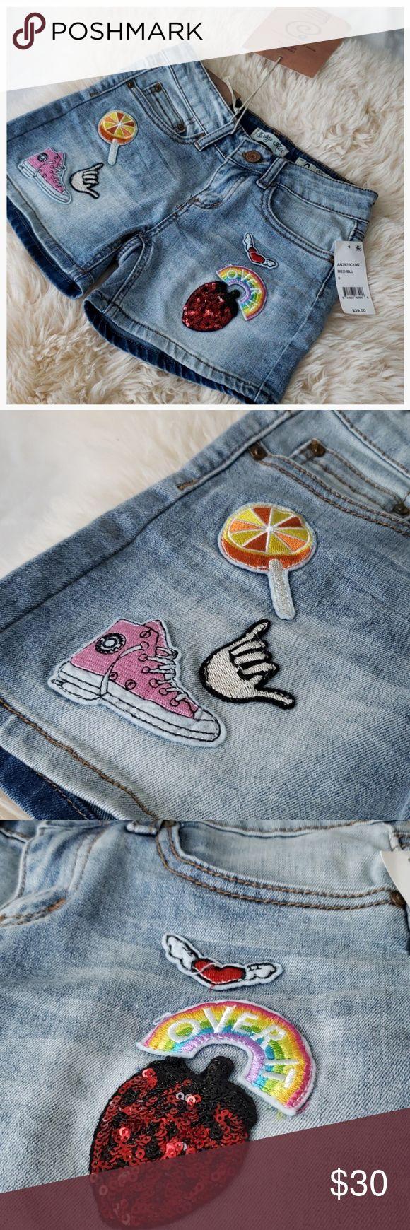 Aufnäher rainbow blue jean shorts Indigo Rein | NWT Super süße Patchwork Jeans …   – Woven Webb Boutique