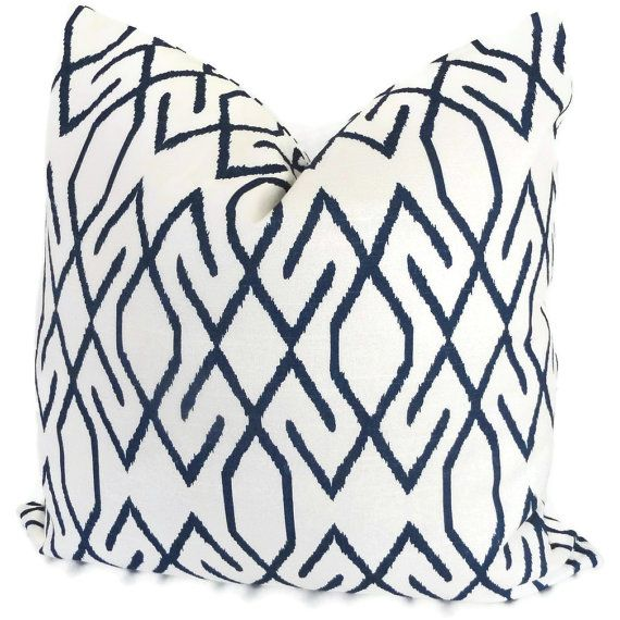 $30 in blue.. White and Navy Blue Trellis Decorative Pillow Covers Square, Eurosham or Lumbar Pillow - Accent Pillow