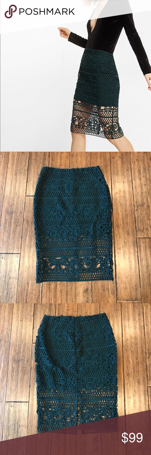"""Crocheted Pencil Skirt Sold out online! This trellis-like crocheted lace lays over a shorter lining for an ultra-feminine take on the high waisted pencil skirt. Its slimming shape pairs beautifully with a long-sleeve body suit. Approx. 25.5"""" long, 14"""" across waist, and 18"""" across hips. Shell 100% polyester, lining 96% polyester, 4% spandex. Back slit approx. 8"""" deep.  * Pencil skirt * Hidden back zipper * Soft, thick crocheted lace; Lined to mini length * Straight hem with back slit Express…"""