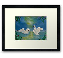Framed, art print, swans,painting,lake,scene,wildlife,nature,romantic,night,love,vivid,colorful,turquoise,blue,beautiful,awesome,cool,superb,amazing,fabulous,magnificent,contemporary,realistic,figurative,fine,wall,art,images,home,office,decor,artwork,modern,items,ideas,for sale,redbubble