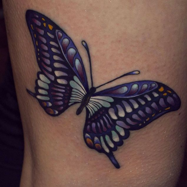 Pearlescent Butterfly Tattoo Design by David Fomin