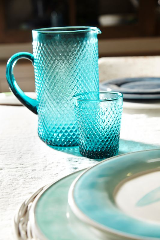 Jug and drinking glass acqua color from Cotè Table