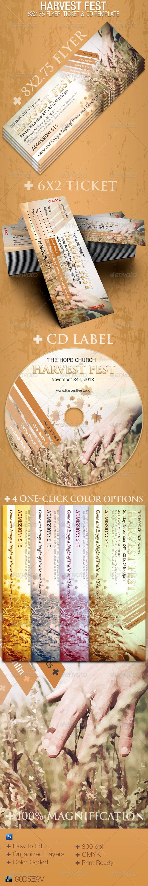 Harvest Fest Photoshop 8x2.75 Flyer Template #GraphicRiver The Harvest Fest Photoshop Flyer, CD and Ticket Template is great for any Church Fall or Harvest Festival, but can be used for Gospel Concerts or any other celebrate church event. The Layered Photoshop Templates are color coded and organized in folders for easy editing. 4 One-Click Color Options are Included. In this package you'll get at a great value which includes 3 Photoshop Templates. What's Included: 1 8×2.75 Flyer Template (8.25×3