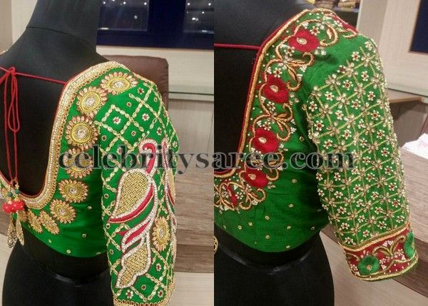 Left: Parrot green elbow length blouse with broad round neck pattern and stones, sequins, beads adorned floral design embossed around the ...
