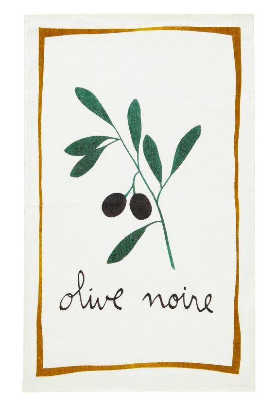 Olive noire, French Farmers Market Traditional Linen DISH TEA TOWEL Cloth | Mountain Lodge via Etsy