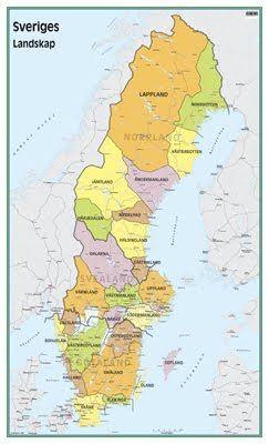 Redigerbar Karta Sverige.Karta Over Sveriges Landskap Regionen Skola Map Och Diagram