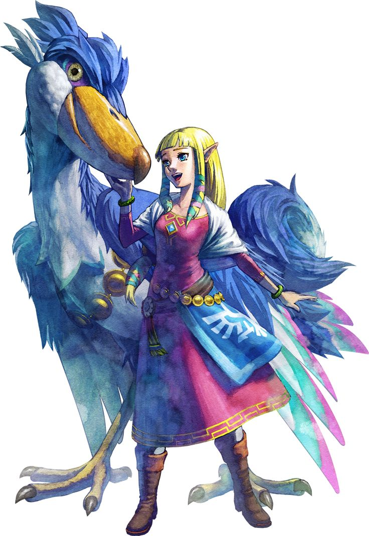 "Zelda and her Blue Loftwing, of the ""Skyward Sword""."