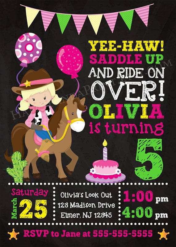 17 best ideas about Cowgirl Birthday Invitations – Cowgirl Themed Birthday Invitations