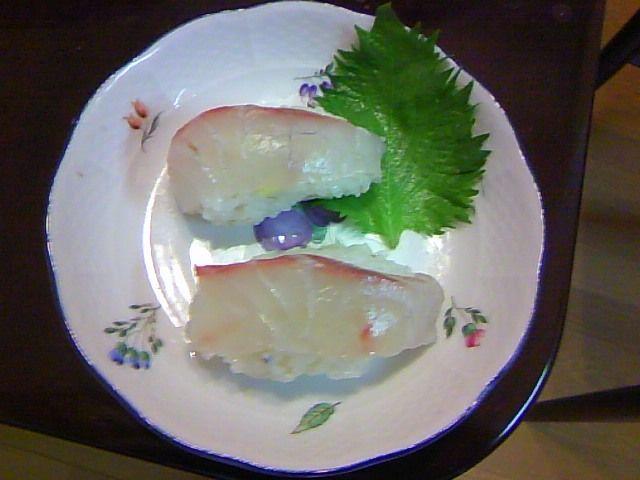 A black porgy (黒鯛) Sushi. Hybrid Sushi of Umaji village(馬路村) Style and Edo(江戸=Tokyo) Style.
