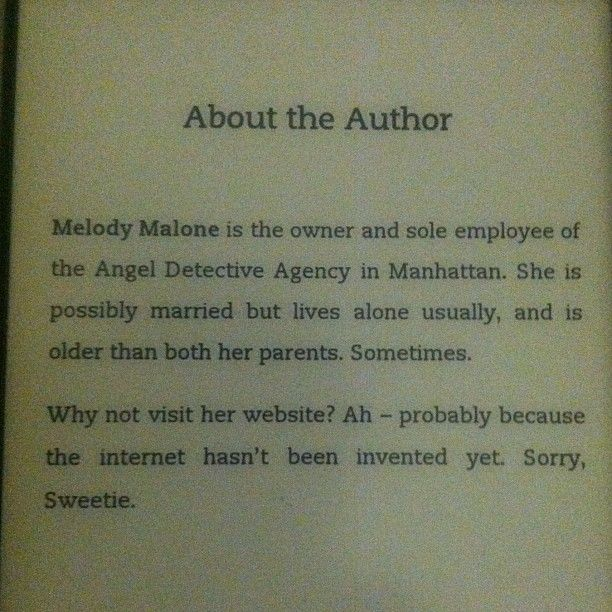 Melody Malone about the author  BBC Books to release the Melody Malone book from 'The Angels Take Manhattan'!