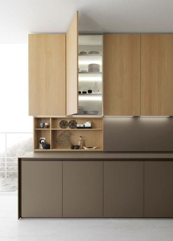 Light inside cabinets.