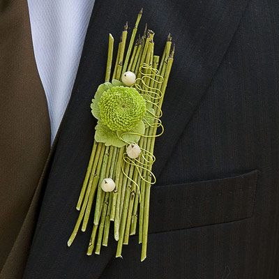 Contemporary boutonniere of equisetum, single spray chrysanthemum and wire detail by Philippe Bas. philippebas.be