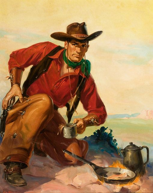 George Rozen, oil on board 19 x 15 in. Range Riders Western pulp cover, September 1951