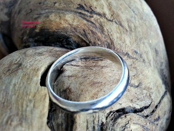 Sterling Silver Mens Ring Plain Wedding Band by flowerpecker