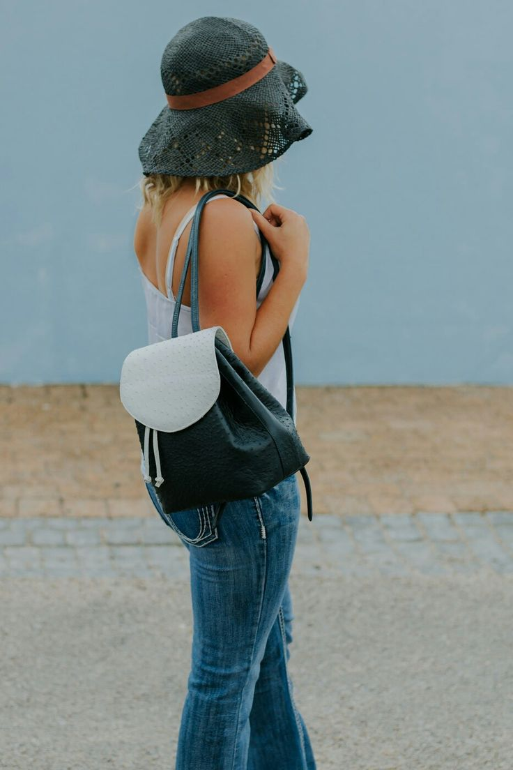 Seoul in Navy and White, by Aruvali. #backpack #chic #ostrichleather #hat #accessories #jeans #photoshoot