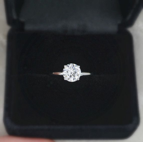 7 mm Round Cut Forever Brilliant Moissanite Solitaire Engagement Ring on 14K White Gold