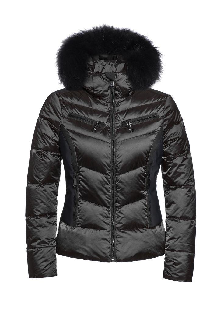 Kitsune ladies Goldbergh ski jacket in black. Available from Winternational.