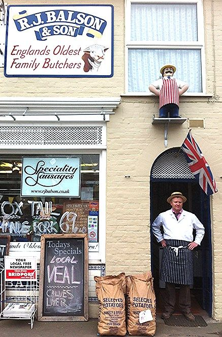 R J Balson & Son established In 1535 in Bridport, Dorset, England, Not only the oldest butchers in England but the oldest continuously trading family in the UK