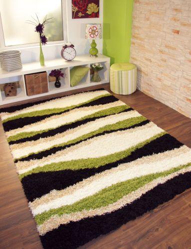 Small-Medium-Extra-Large-Green-Black-Wavy-Stripe-Modern-Cheap-Thick-Shaggy-Rugs