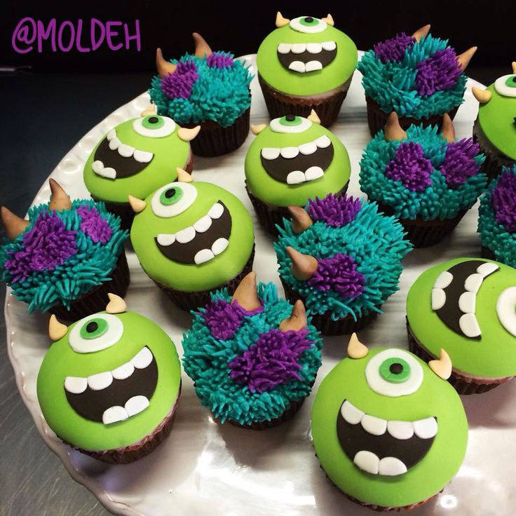 Minicupcakes de Mike y Sully, Monsters Inc. / Sully and Mike minicupcakes, Monsters Inc.