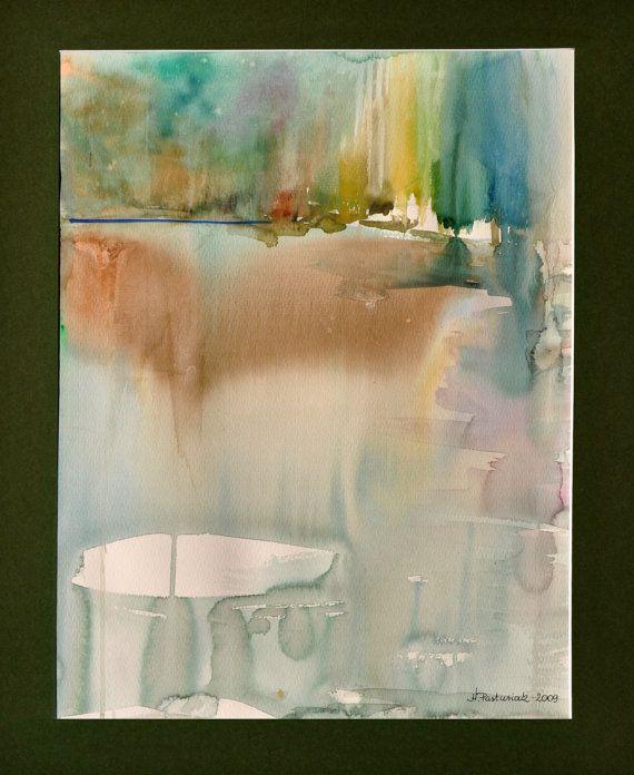 de printemps, aquarelle originale, zen, paysage mystérieuse, eau ...