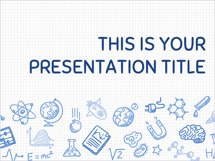 This playful free presentation template uses a science themed design. The illustrated background with hand drawn icons will make your content stand out from the crowd. By changing the blue color of text and icons you can adapt it to your communication needs. You can use it in education, to present lessons or a science project in your class or conference. Because