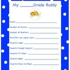 Reading Buddies Introduction Activity Questionnaire This questionnaire can be paired with any grade level (we use it with 1st and 5th grade classe...