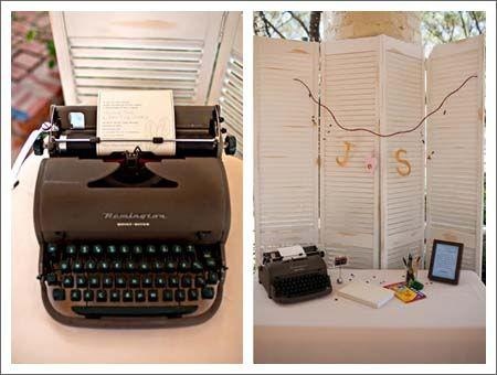 libros de firmas con máquina de escribir donde los invitados irán dejando sus buenos deseos