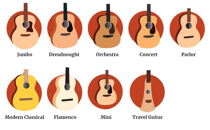 Acoustic Guitar Body Styles And Sizes Guitar Body Guitar Posters Acoustic Guitar