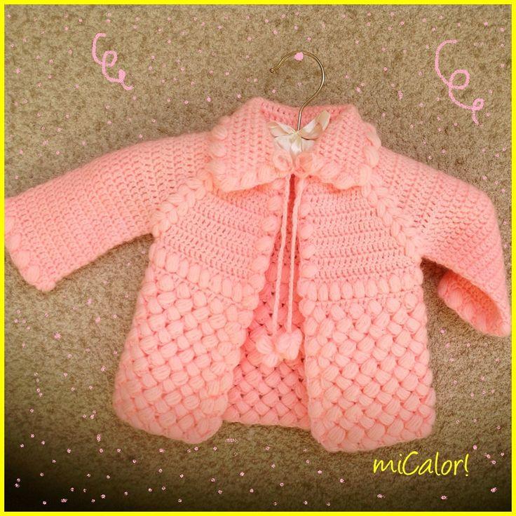 Crochet Baby Girl Jacket - Pink & White by miCalorKnits on Etsy https://www.etsy.com/listing/235469104/crochet-baby-girl-jacket-pink-white