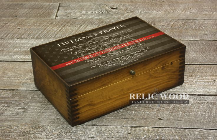 Custom Fireman's Prayer Memory Gift Box - For the fireman in your life, it features the Fireman's Prayer with the red courage flag in the background.