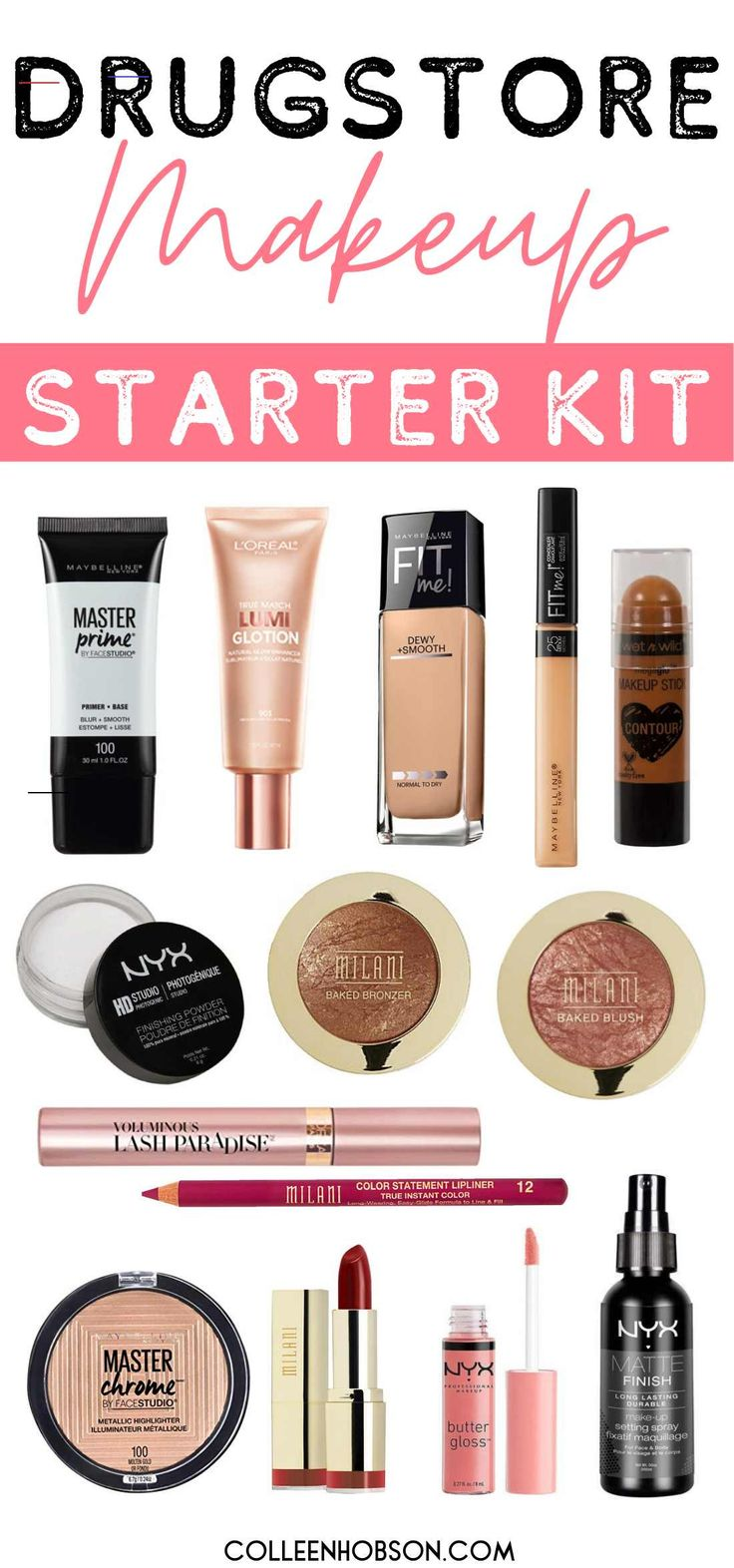 Complete Drugstore Makeup Starter Kit for 100 Makeup