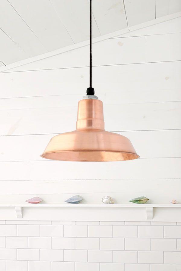 Simple copper pendant light