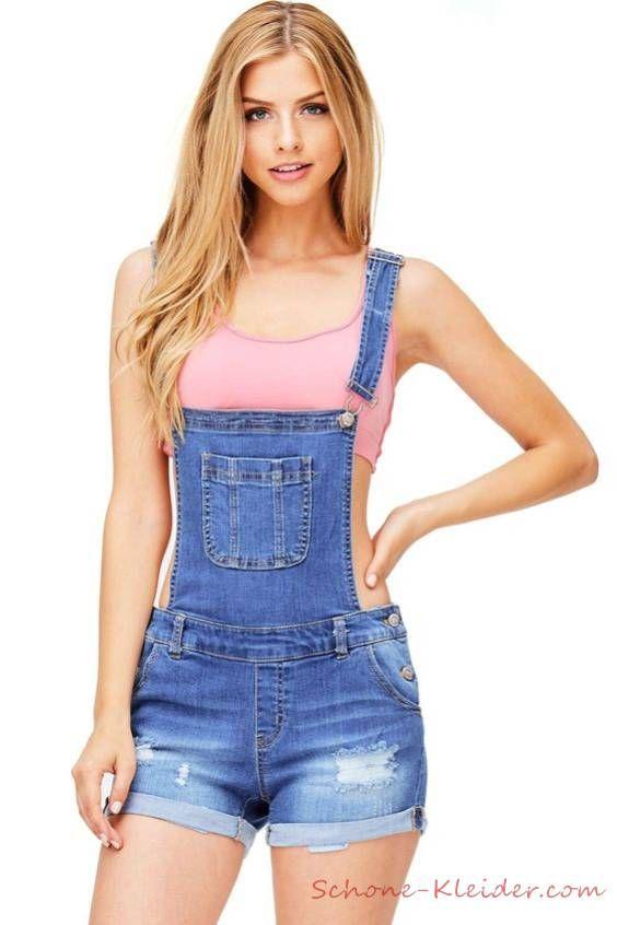 outlet store 232c4 6760c 2019 Sommer Outfit: Jeans Jumpsuit Kurz für Damen ...