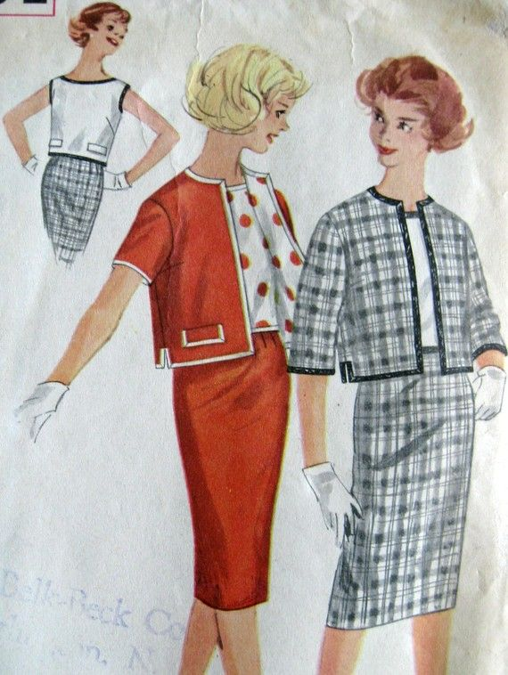 Love the polka dot lining! Vintage Sewing Pattern 1960s Simplicity 3324 Slim by paneenjerez, $12.00