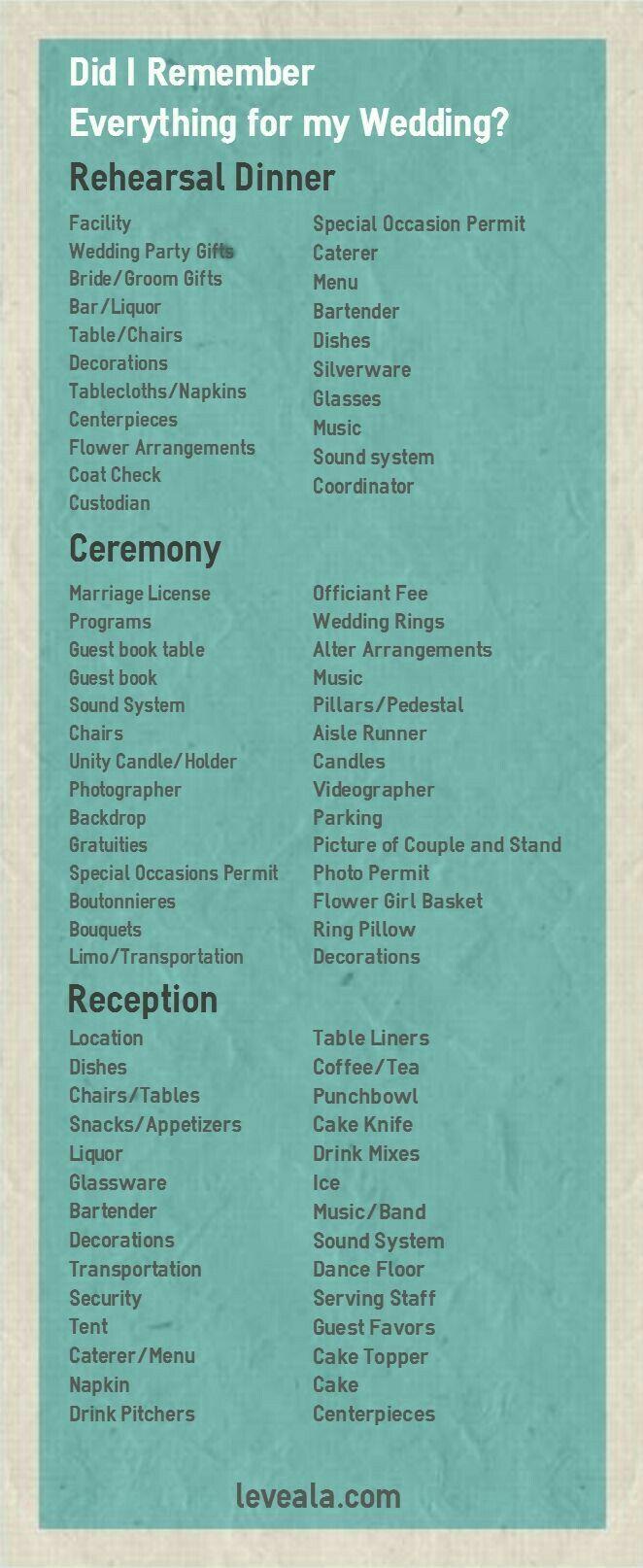 Wedding Rehearsal Ceremony And Reception Checklist