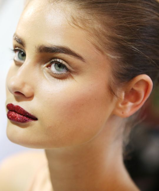 Taylor Hill backstage the Atelier Versace Haute Couture Fall/Winter 2016 show on July 3rd.