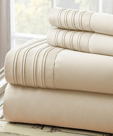 Another great find on #zulily! Taupe Pin Tuck 1,000-Thread Count Sheet Set #zulilyfinds