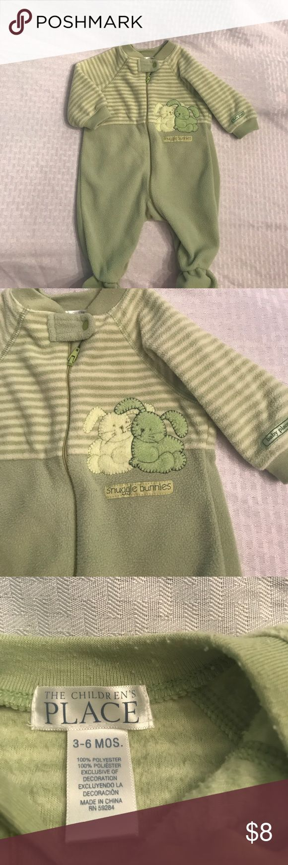 """Green striped zip up footed sleeper It'll be cold soon and your little munchkin will need something to snuggle up in. This green zip up fleece jumper has two little bunnies on the front of it with the words """"snuggle bunnies"""" underneath. Cute cute cute! The Children's Place One Pieces Footies"""