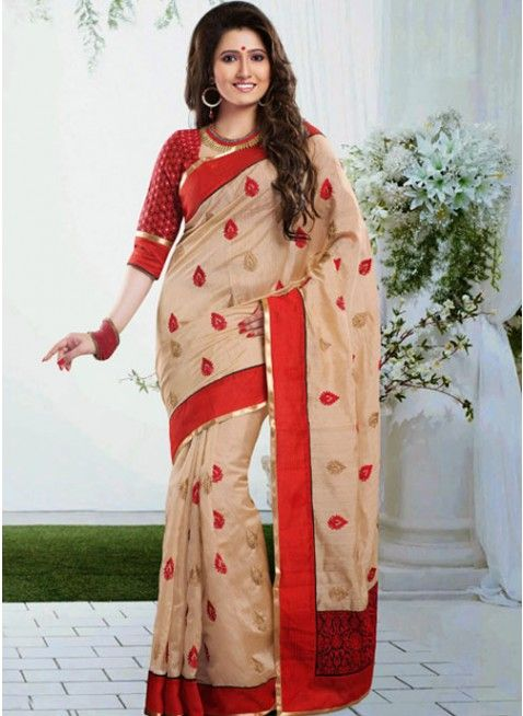Divine Beige & Red Embroidered Color Art Silk Based Embroidered #Saree #clothing #fashion #womenwear #womenapparel #ethnicwear
