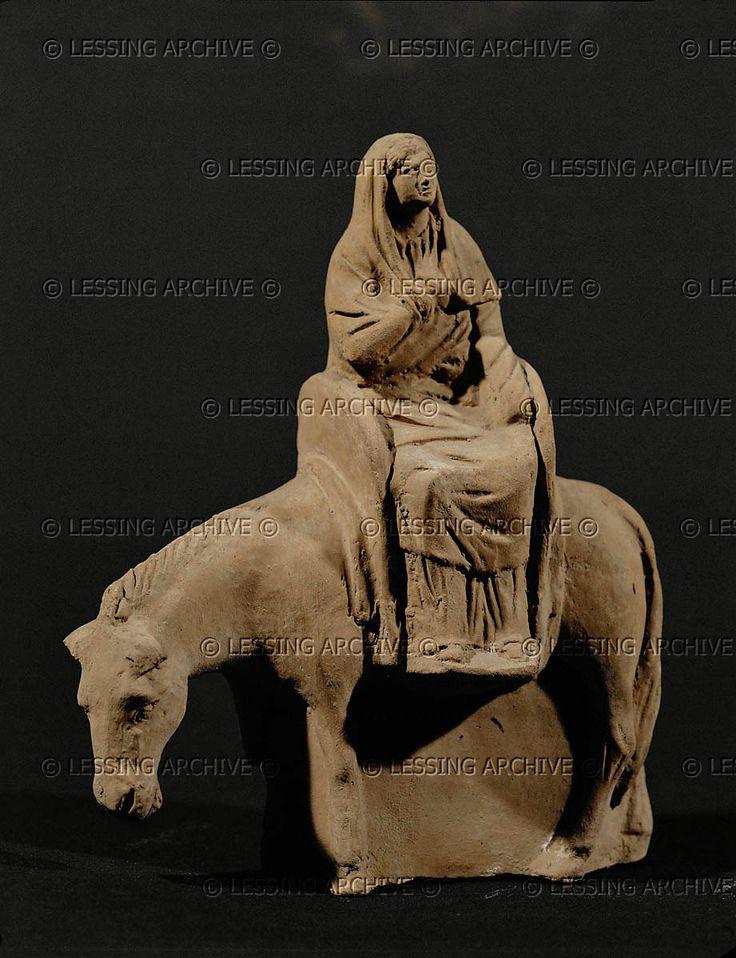 Woman on a mule, terracotta, end 1st century BCE, from Myrina, Isle of Lemnos, Greece.