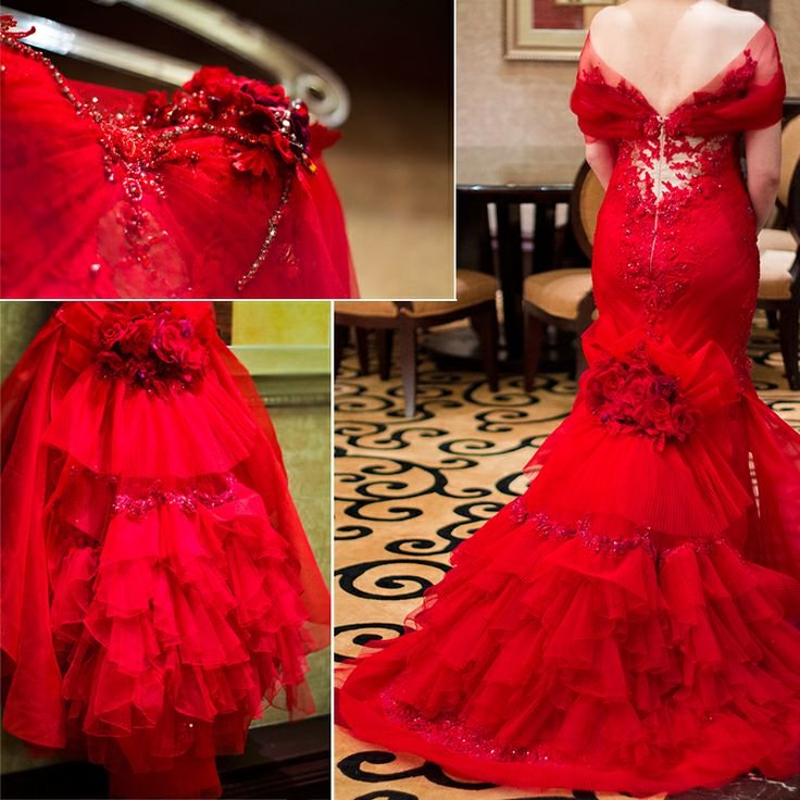 Red, cascading train and rosettes #ruslytjohnardiatelier #ruslytjohnardi #couture #redress #redgown #redcarpet #galadress