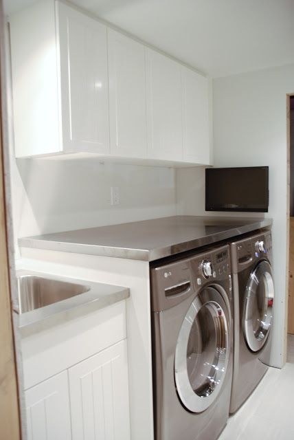 DIY Stainless Steel Countertop (by Rambling Renovators)-if I had a front load set, this would be Awesome!.
