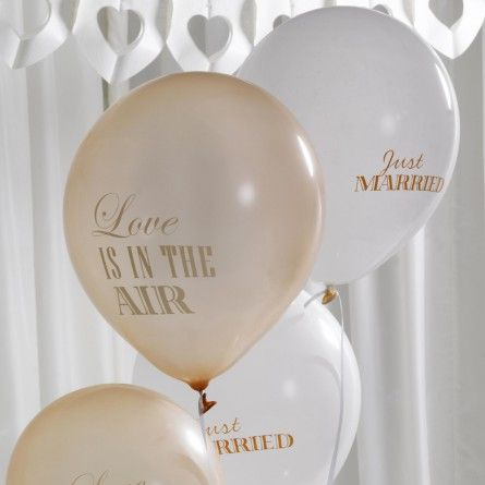 """Hochzeitsballons """"Love is in the air"""" (8 Stück) - gold * ivory"""